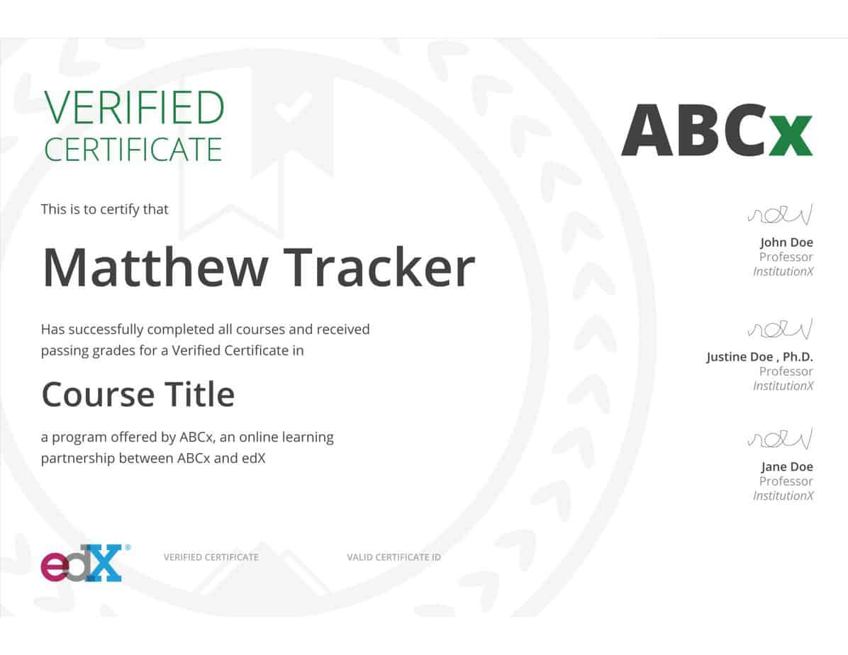 Sample Course Certificate for edx